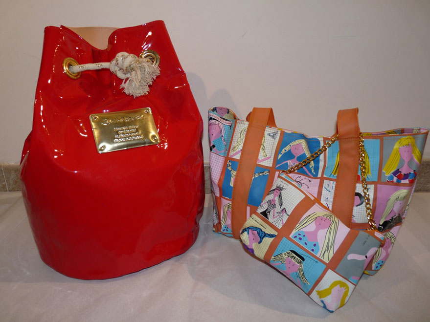 Sacco in vernice e borsa in gommatino